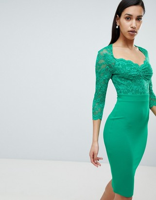 City Goddess 3/4 Sleeve Lace Midi Dress-Green