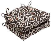 """Pillow Perfect Brown New Damask Reversible Chair Pad (Set Of 2) (16""""X15.5"""")"""