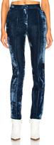 Off-White Flared Velvet Pants in Blue.