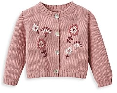 Elegant Baby Girls' Floral Embroidered Cardigan - Baby