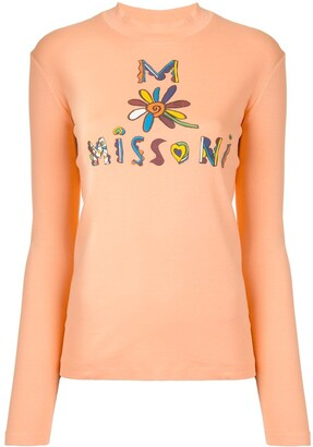 M Missoni Logo Print Long-Sleeved Top