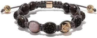 Shamballa Jewels 18kt yellow gold, diamond and wood beaded braided bracelet