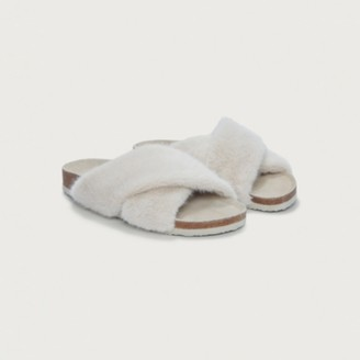 The White Company Faux-Fur Slider Slippers, Natural, L
