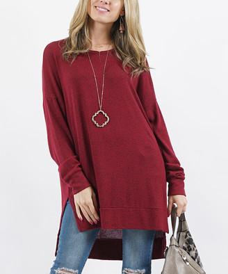 Melange Home Lydiane Women's Pullover Sweaters CABERNET - Cabernet Crewneck Side-Slit Tunic - Women & Plus