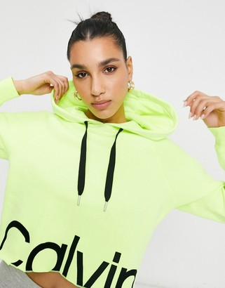 Calvin Klein front logo hoodie in lime