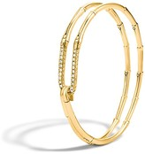 John Hardy Bamboo 18K Gold Diamond Hook Bracelet