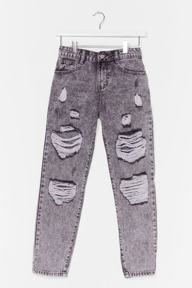 Nasty Gal Womens Distress Foot Forward Slouch Jeans - Grey