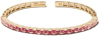 Suzanne Kalan 18kt Yellow Gold Ruby And Diamond Stacked Bangle
