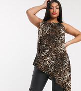 Simply Be asymmetric top with halter neck in leopard print