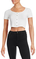 Design Lab Lord & Taylor Button-Front Crop T-Shirt