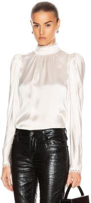 Frame Lace Cuff Top in Off White | FWRD