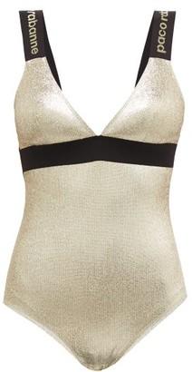 Paco Rabanne Logo-intarsia Straps Metallic Jersey Bodysuit - Womens - Gold