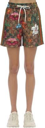 Gucci Gg Supreme & Floral Print Jersey Shorts