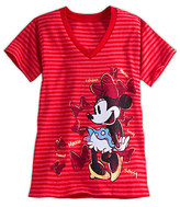 Disney Minnie Mouse Striped V-Neck Tee for Women