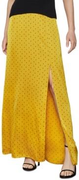BCBGMAXAZRIA Polka-Dot Satin Maxi Skirt