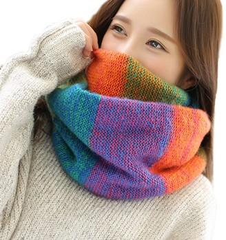 Deloito  Womens Scarf Deloito Women Winter Warm Knit Neck Scarf Colourful Multi-purpose Wrap Shawl Ladies Fashion Loop Scarves
