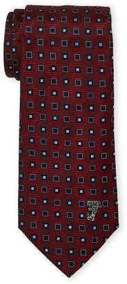 Versace Red Silk Boxes Pattern Tie