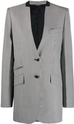 Givenchy Collarless Houndstooth Print Blazer