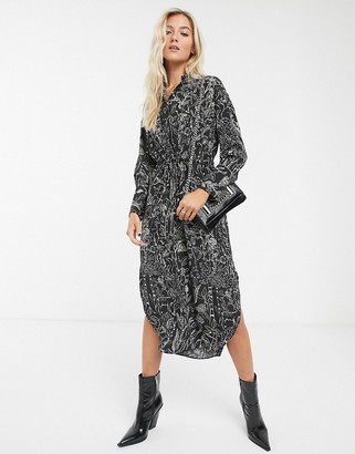 Topshop shirt dress in mono print