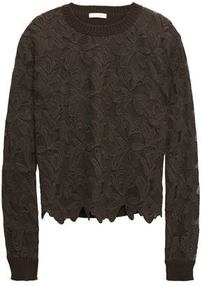 See by Chloe Ribbed Knit-paneled Cotton Guipure Lace Sweater