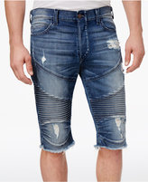 "True Religion Men's Destructed Slim-Fit Moto 14.5"" Stretch Shorts"