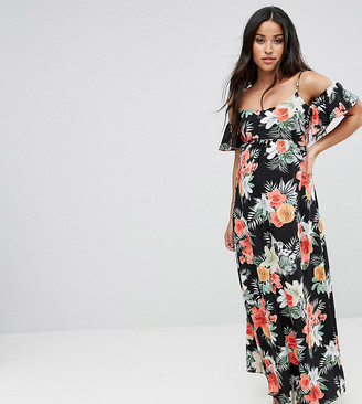 Queen Bee Maternity Floral Cold Shoulder Maxi Dress-Multi