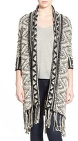 Willow & Clay Long Fringe Open Front Cardigan