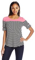 NY Collection Women's Roll-Sleeve Stripe Top