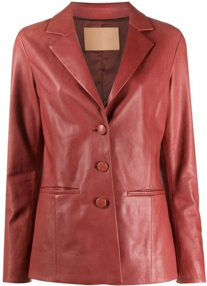Drome Notched Collar Leather Jacket