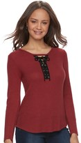 Pink Republic Juniors' Pink Republic Lace-Up Long Sleeve Top