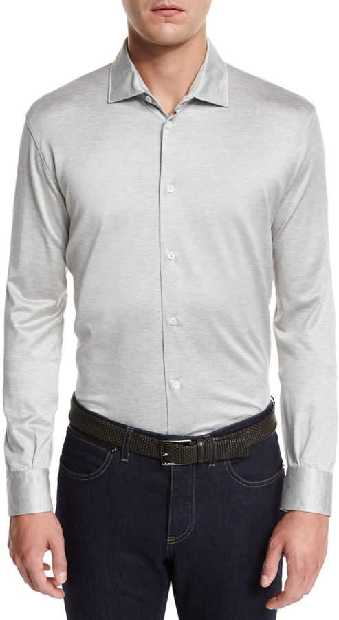 Ermenegildo Zegna Long-Sleeve Button-Down Polo Shirt, Gray