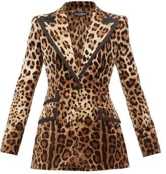Dolce & Gabbana Leopard-print Velvet Blazer - Womens - Leopard