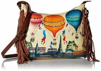 Anuschka Anna by Women's Genuine Leather Large Hobo Shoulder Bag | Hand Painted Original Artwork | Festive Sky One Size