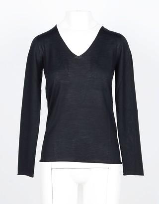 Lamberto Losani Black Cashmere and Silk Blend Women's V-Neck Sweater