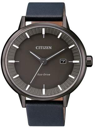 Citizen Men's Eco-Drive Navy Leather Strap Watch, 41.5mm