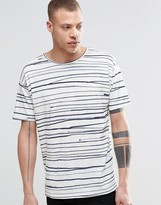 Nudie Jeans Nudie Loose T-shirt Rain Stripes Print In Off White/blue