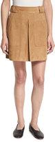 Vince Pleated Suede Mini Skirt, Tan