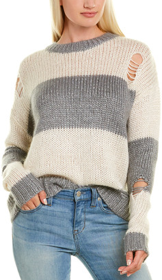 Autumn Cashmere Distressed Rugby Striped Silk, Wool & Cashmere-Blend Sweater