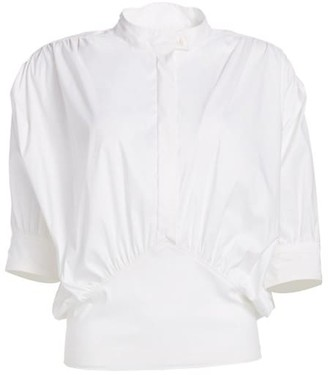 By Any Other Name Cummerbund Stand Collar Blouse