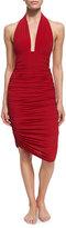 Norma Kamali Shirred Knee-Length Swim Skirt, Red