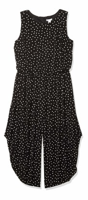 London Times Women's Plus Printed Happy Dot Jumpsuit with Harem Pants
