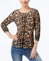 INC International Concepts Embellished Animal-Print Sweater, Created from Macy's