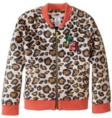 Little Marc Jacobs Resort - Faux Fur Leopard Jacket with Cherry Patch Girl's Coat