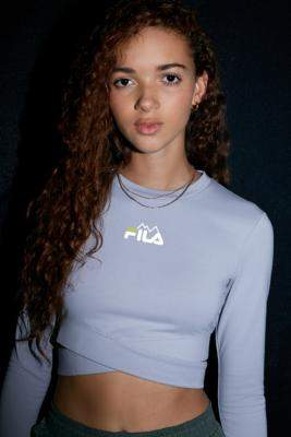 Fila UO Exclusive Dannie Crossover Long-Sleeve Top - grey XS at Urban Outfitters