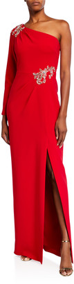 Marchesa One-Shoulder Stretch Crepe Gown w/ Beaded Details