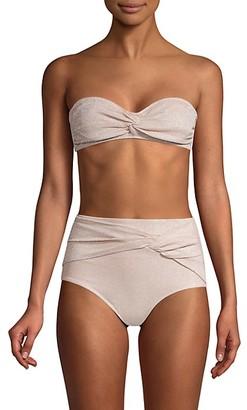 Jonathan Simkhai Strapless Knotted Metallic Bikini Top