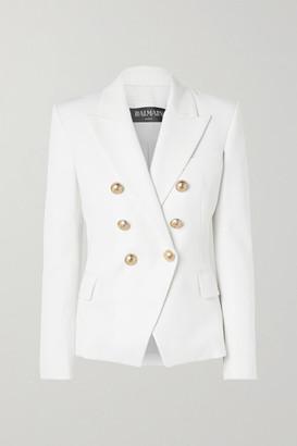 Balmain Double-breasted Wool-twill Blazer - White