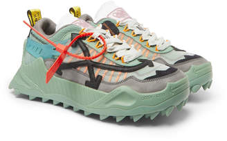 Off-White Off White Odsy-1000 Leather-Trimmed Mesh, Suede And Rubber Sneakers