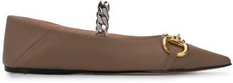 Gucci Horsebit pointed toe ballerina shoes