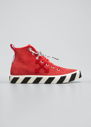 Off-White Men's Suede Vulcanized Mid-Top Sneakers